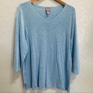 Chico's Light Blue Heather Tunic Sweater Top Sz 3